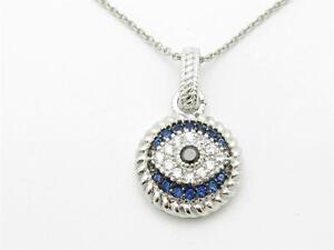 UNIQUE PLATINUM SILVER DIAMOND SET EVIL EYE KABBALAH BLUE EYE PENDANT NEW GIFT