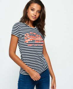2badc0ce0c New Womens Superdry Vintage Logo Stripe T-Shirt Eclipse Navy | eBay