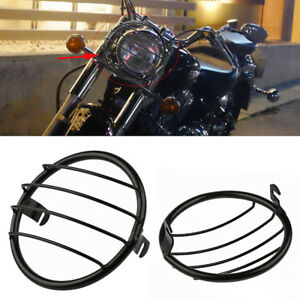 7-034-metal-moto-phare-lampe-Mesh-Grille-couvercle-masque-pour-Harley-Honda
