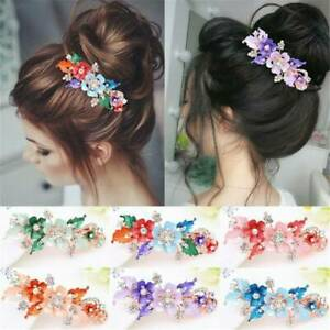 Floral-Flower-Barrettes-Crystal-Hair-Clip-Headwear-Accessories-Cute-Hairpin