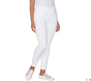 Martha Stewart Regular Knit Denim Pull-On Jeans w  Snap Detail White Size 12