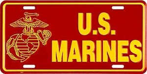 PATRIOTIC MARINES USMC MARINE CORPS USA METAL LICENSE PLATE AUTO CAR TAG #517