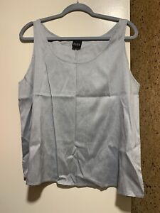 NWOT-Eileen-Fisher-Women-039-s-Tank-Top-100-Raw-Silk-Sleeveless-Blouse-Blue-Sz-XL