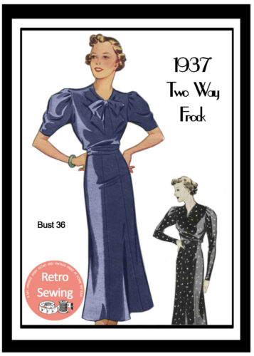 1930/'s Pussy Bow Tea Dress Sewing Pattern Bust 36