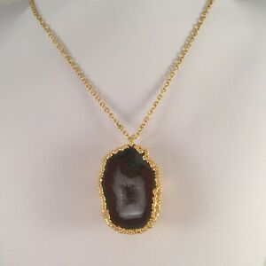 Vintage-Jewellery-Gold-Chain-Necklace-Gemstone-Geode-Pendant-Antique-Jewelry