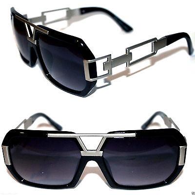 Grandmaster Sunglasses Flat Top Style Metal Silver Link Black Hip Hop Gazelle