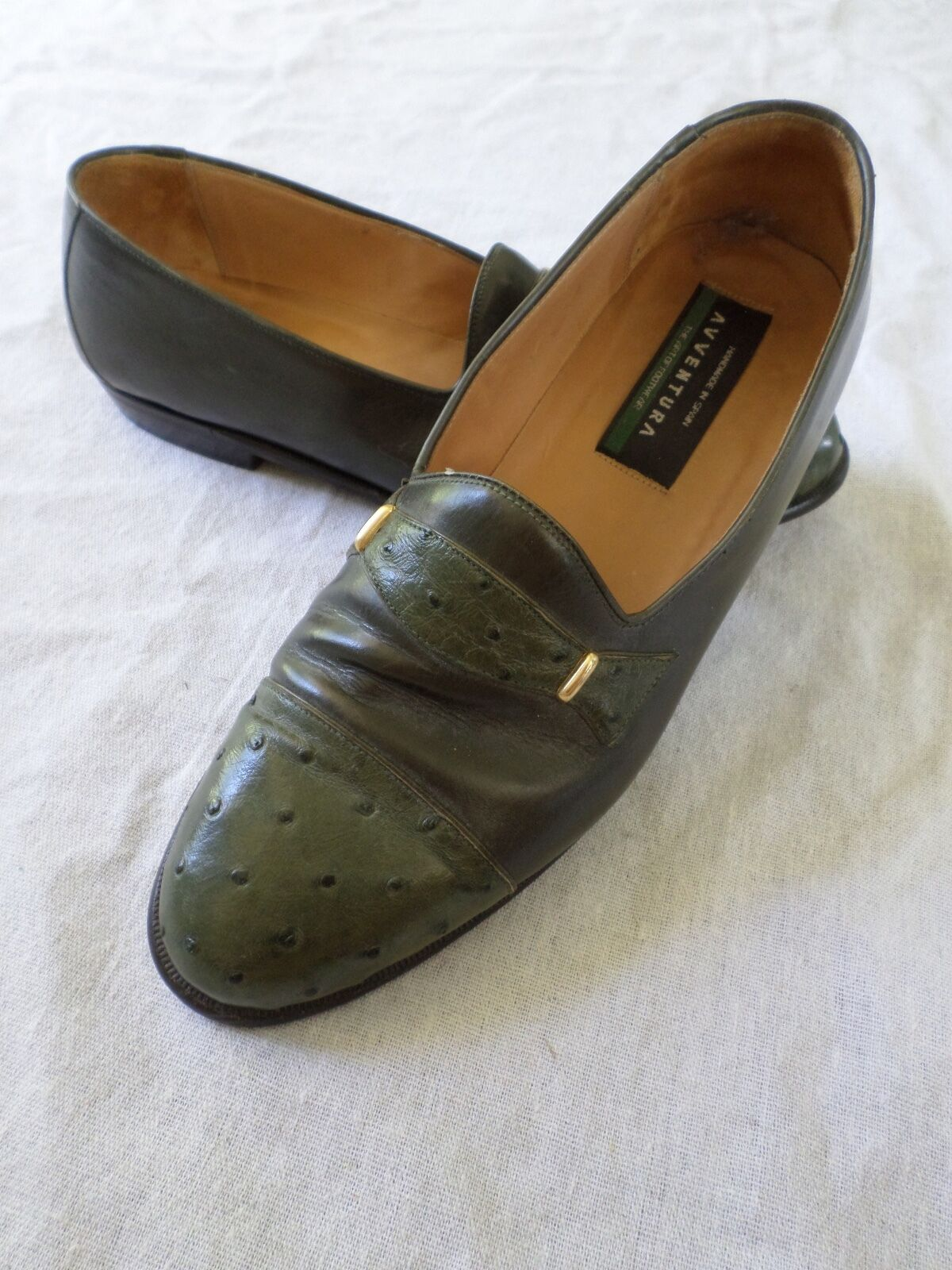 AVVENTURA made Spain modern green leather ostrich dress shoe loafers 8.5M Scarpe classiche da uomo