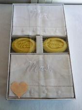 Mud Pie Mr. and Mrs. Linen Guest Bath Hand Towels & SOAP 4-Piece Set 280308