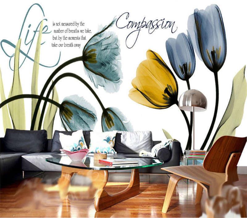 Pellucid Tulip 3D Full Wall Mural Photo Wallpaper Printing Home Kids Decoration