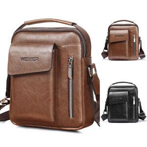 Vintage Men's Leather Messenger Bag Cross-body Tote Handbag Shoulder Brifecase