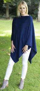 CASHMERE-Poncho-DENIM-BLUE-CAPE-Wrap-One-Size-Fits-All-FREE-UK-Shipping