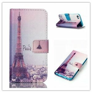 iPod Touch 5th 6th 7th Gen - BLUE PARIS EIFFEL TOWER Leather Card ID Wallet Case
