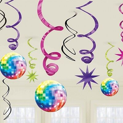 70S DISCO SWIRLS DISCO BALLS HANGING DECORATION PACK OF 12