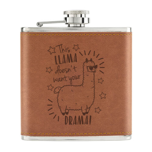 This Llama Doesn/'t Want Your Drama 6oz PU Leather Hip Flask Tan Funny