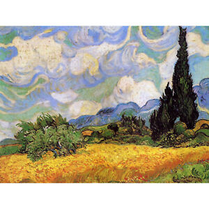 VINCENT-VAN-GOGH-WHEAT-FIELD-WITH-CYPRESSES-1889-ART-PAINTING-PRINT-12x16-inch-3