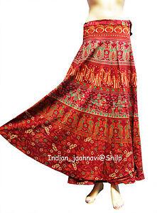5ea4d38dbf Indian Women Ethnic Floral Rapron Red Print Cotton Long New Skirt ...