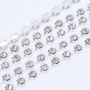 LOT-de-1M-1-METRE-CHAINE-GALON-STRASS-2x2mm-ARGENTE-perles-creation-bijoux