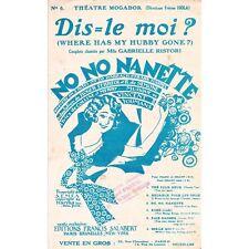 DIS LE MOI Where has my hubby gone Opérette NO NO NANETTE music COLLINE et MERRY