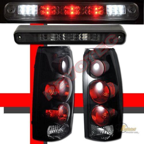 88-98 Chevy GMC CK Silverado Dark Smoke Tail Lights Smoke LED 3rd Brake Light