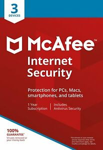 McAfee Internet Security 2019 Anti Virus Software 1 Year Licence 3 Users/PC NEW 731944688251