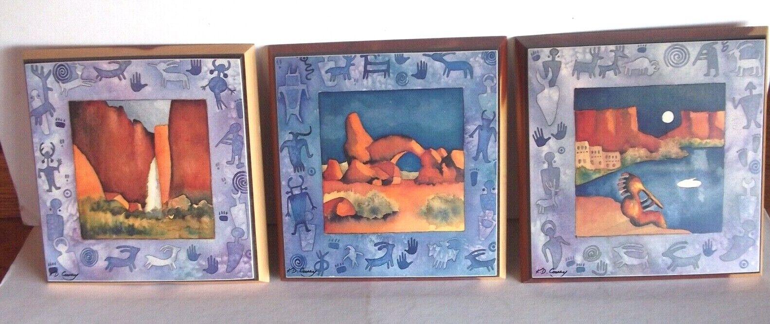 Mystic Moon Wall Plaques (3) Cedar Southwestern Kathy KD Cooney Native Kokopelli