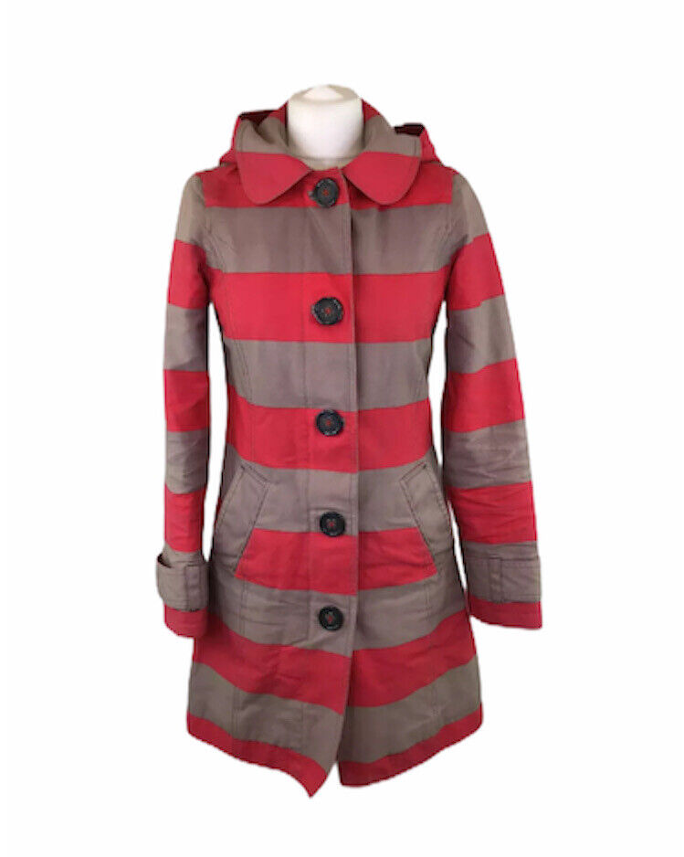 Boden Jacket With Hood Red & Beige Striped Cotton Nautical Sz 6 UK Womens