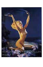 Pin Up Girl Poster 11x17 blonde by the beach at night with flowers ocean nude