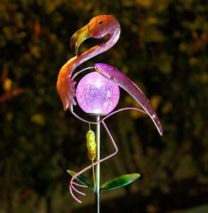Image Is Loading Pink Flamingo Lawn Ornament With Solar Glass Crackle