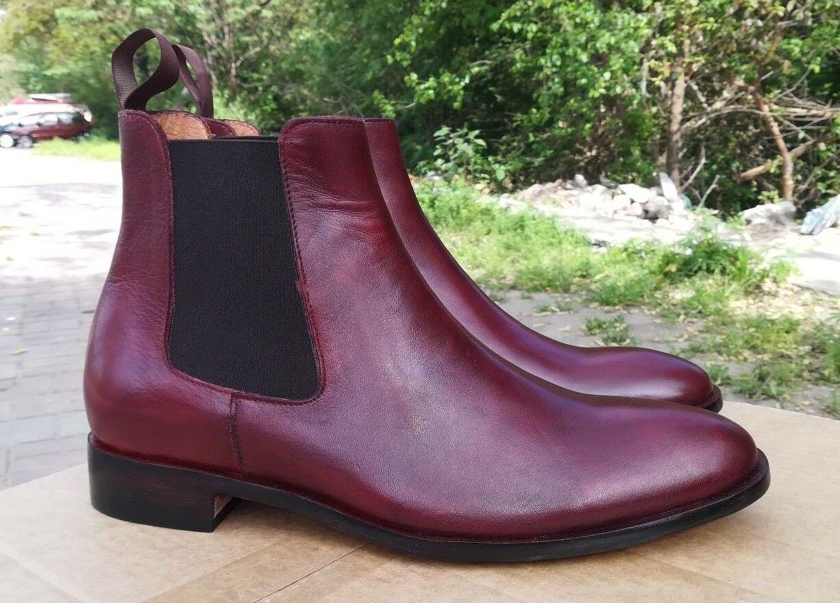 Kleid Stiefel Handmade Chelsea Burgundy Männer lJT1cKF