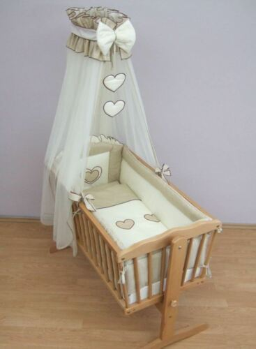 9 Piece Crib Baby Bedding Set 90 x 40 cm Fits Swinging //Rocking Cradle Heart