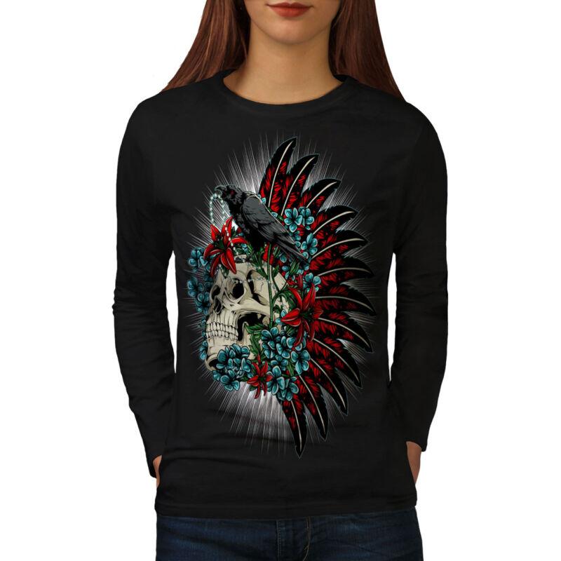 Cráneo Raven Muerte Fantasía Para Mujeres De Manga Larga Nuevo Camiseta | Wellcoda