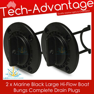 2 X WHITE LARGE BOAT MARINE GRADE UV-RESISTANT HI-FLOW BOAT BUNG BUNGS /& BASE