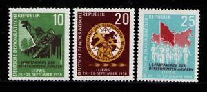 ALEMANIA-RDA-EASTGERMANY-1958-MNH-SC-401-403-Spartacist-Games