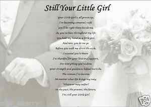 DAD ON MY WEDDING DAY - Still Your Little Girl (Laminated Gift) eBay