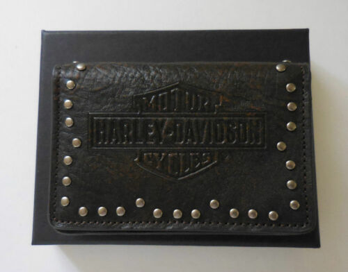 Harley Davidson Twisted Trademark B&S W/Metal Studs Brown Leather Card Holder