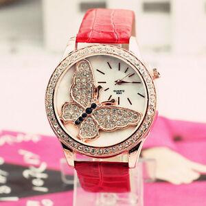 Womens-Ladies-Stylish-Fashion-Watch-Butterfly-Rhinestone-Leather-Quartz-Watch