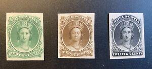Nova Scotia - Queen Victoria.  Three Proofs. Mint, Great Condition, 1860.