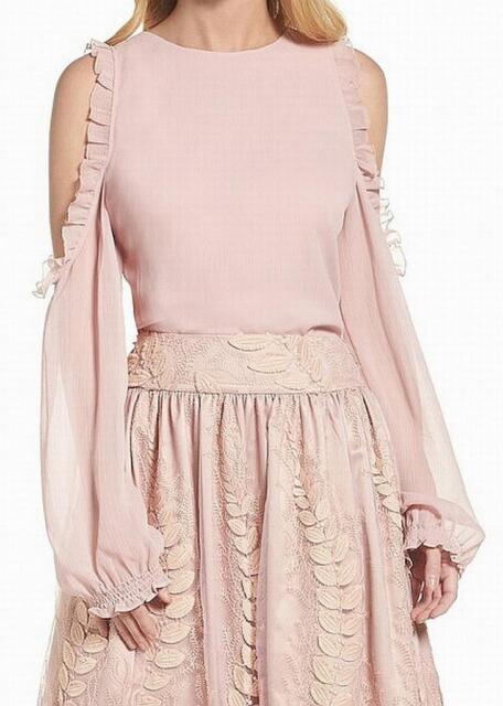 934616089950fc ELIZA J  129 Womens PINK Ruffle Trim COLD SHOULDER Blouse Top Shirt SZ 12  NWT