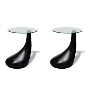 Phenomenal Details About Coffee Tables Set Of 2 Round Glass Top High Gloss Stand Black Side End Furniture Machost Co Dining Chair Design Ideas Machostcouk