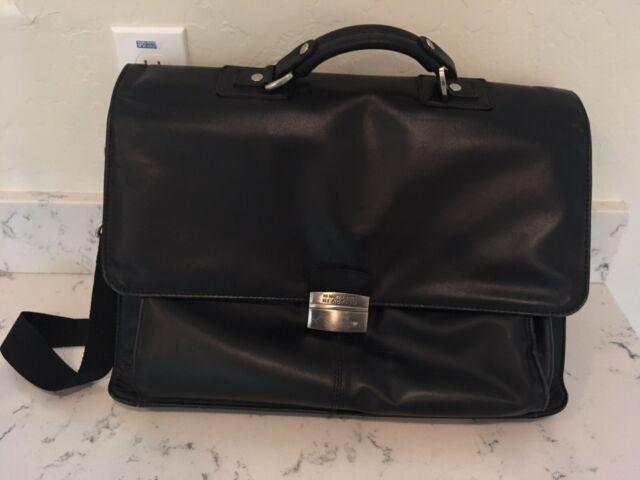 Kenneth Cole Reaction Black Leather Flap Over Case Briefcase Laptop Bag