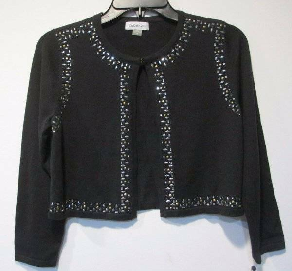 0ff5e7de1 Calvin Klein Black Womens Size Small PS Petite Embellished Cardigan ...