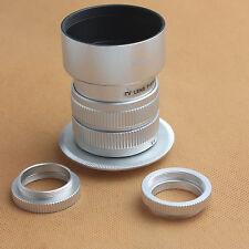 Fujian 35mm f/1.7 CCTV cine lens for M4/3 / MFT Mount&Adapter bundle+hood silver