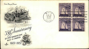 1957-USA-US-Cover-Stamp-Issue-Seagoing-Ship-Anniversary-FDC-Cancel-BATH-Maine