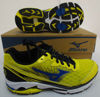 Mizuno Wave Rider 16 Blazing Yellow Imperial Blue Anthracite Men's Running Shoes Size 10.5 EE - Wide Shoes