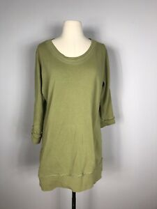 Soft Surroundings Chartreuse Green 3/4 Sleeve Ruffle Pocket Tunic Top Women's S