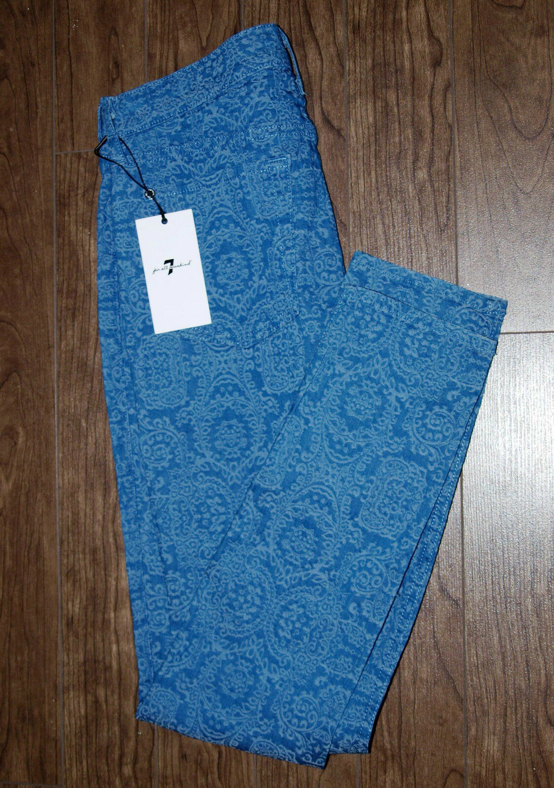 7 For All Mankind NEW Size 34x31 Womens bluee Damask Print Pants