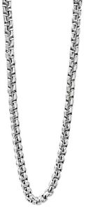 """Fred Bennett 23.5"""" Polished Stainless Steel Heavyweight Box Belcher Necklace"""