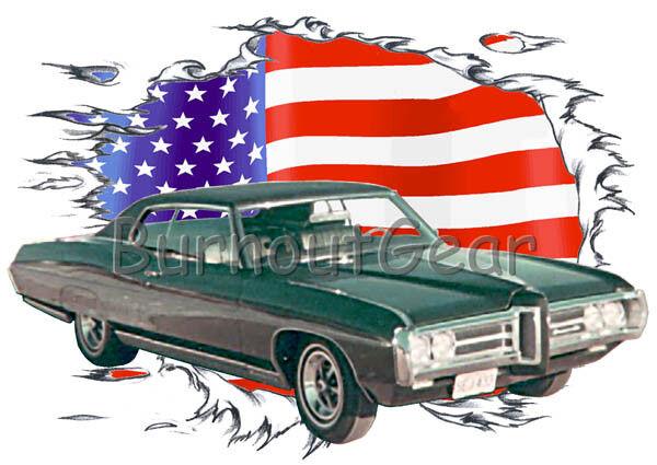 1969 Grün Pontiac Bonneville Custom Hot Rod USAT T-Shirt 69 Muscle Car Tees