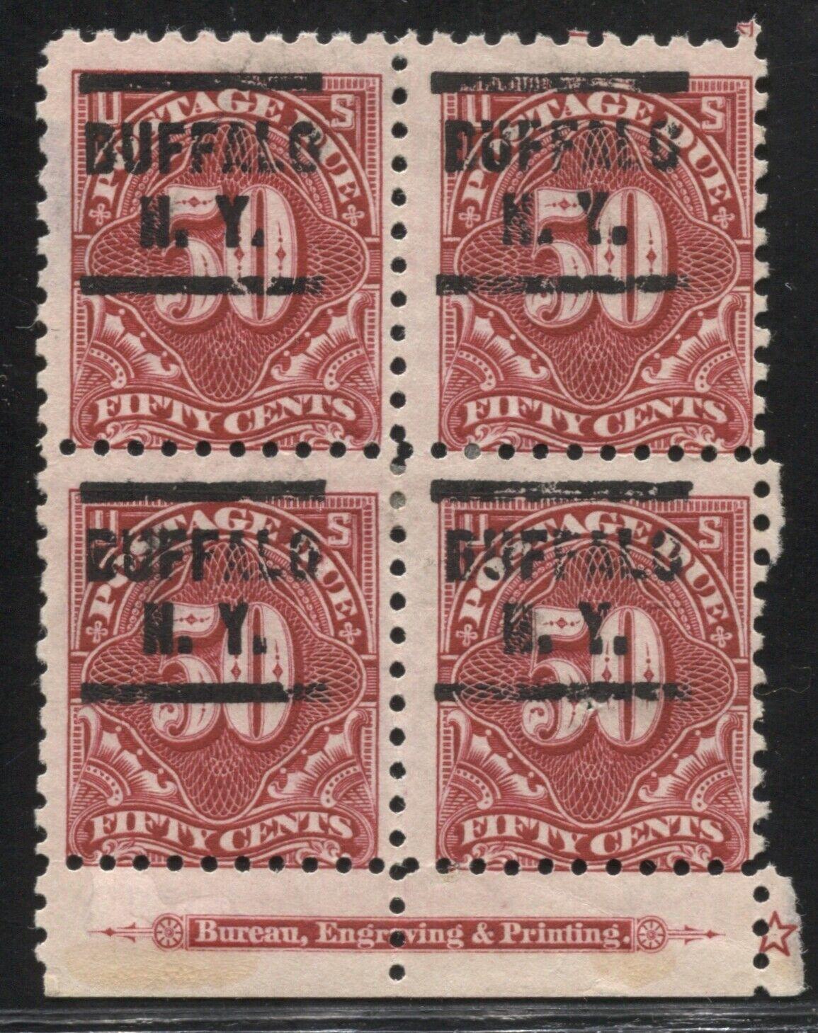 Postage Due J58 block used rare position Avg-Fine flaws inc pinhole 9/27 TJ