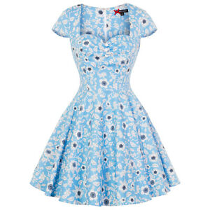 Hell-Bunny-Daphne-Blue-Floral-Vintage-Retro-1950s-Mini-Summer-Sun-Party-Dress
